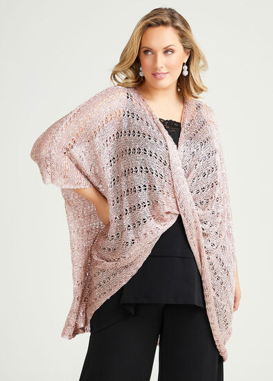 Rose Gold Twist Front Poncho