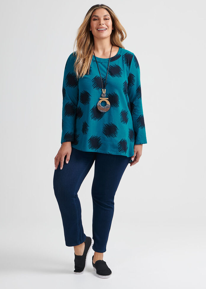 Ikat Dot Cotton Top, , hi-res