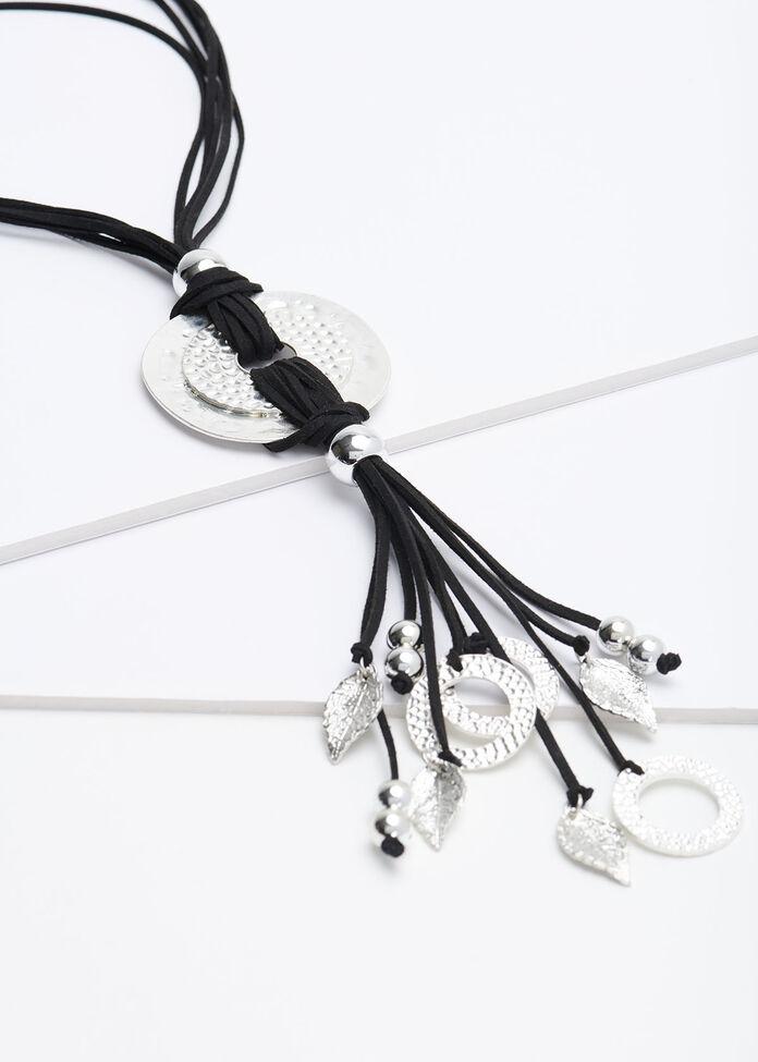 Silver Disc Necklace, , hi-res