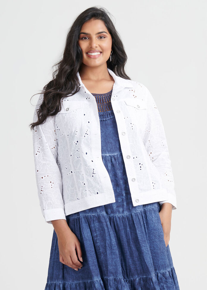 Cotton Broderie Jacket, , hi-res