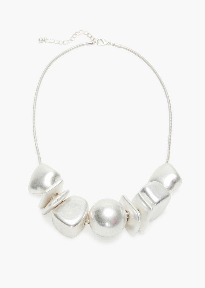 Silver Beads Necklace, , hi-res