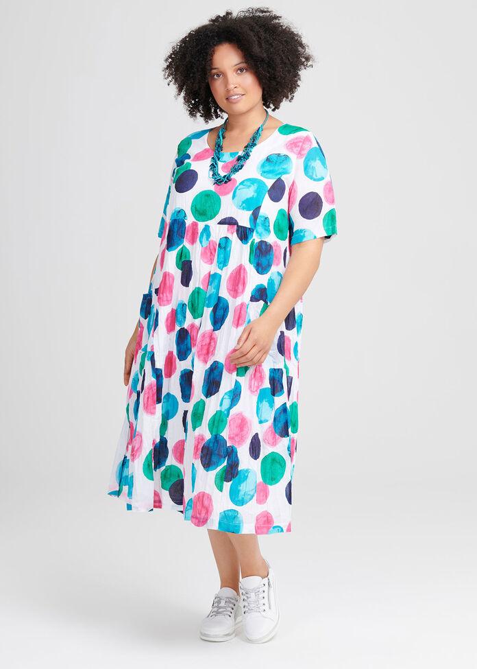 Cotton Abstract Art Dress, , hi-res