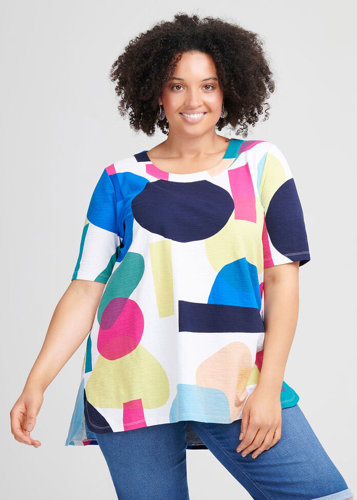 Cotton Abstract Art Top, , hi-res