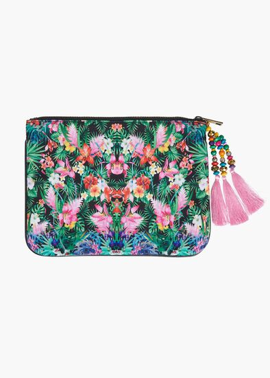 Tropical Print Clutch With Tassel