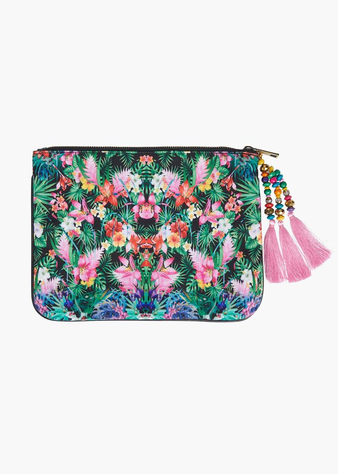Tropical Print Clutch With Tassel, , hi-res