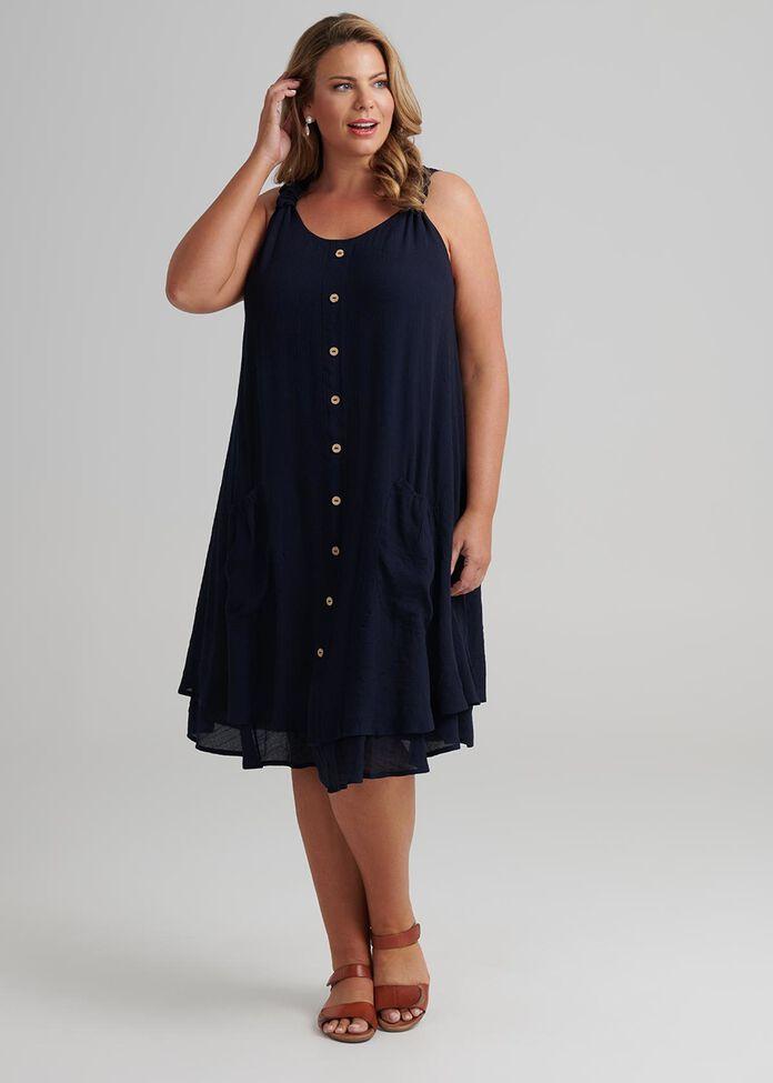 Sleeveless Button Dress, , hi-res