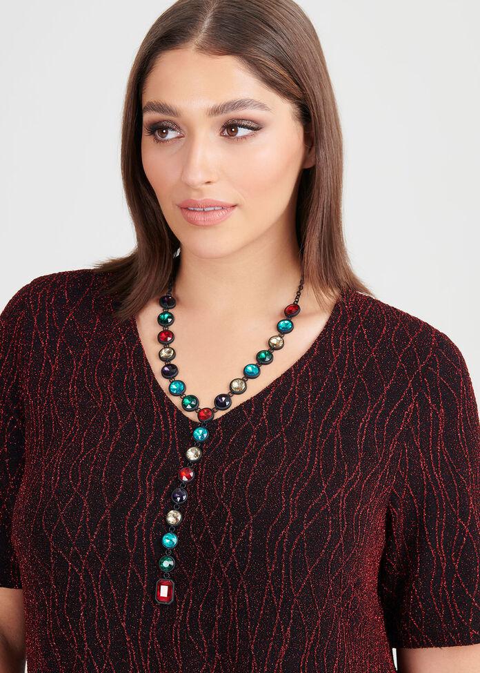 Faceted Jewel Y Necklace, , hi-res