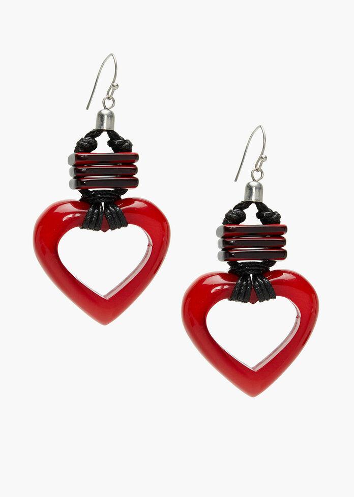 Red Resin Heart Earrings, , hi-res