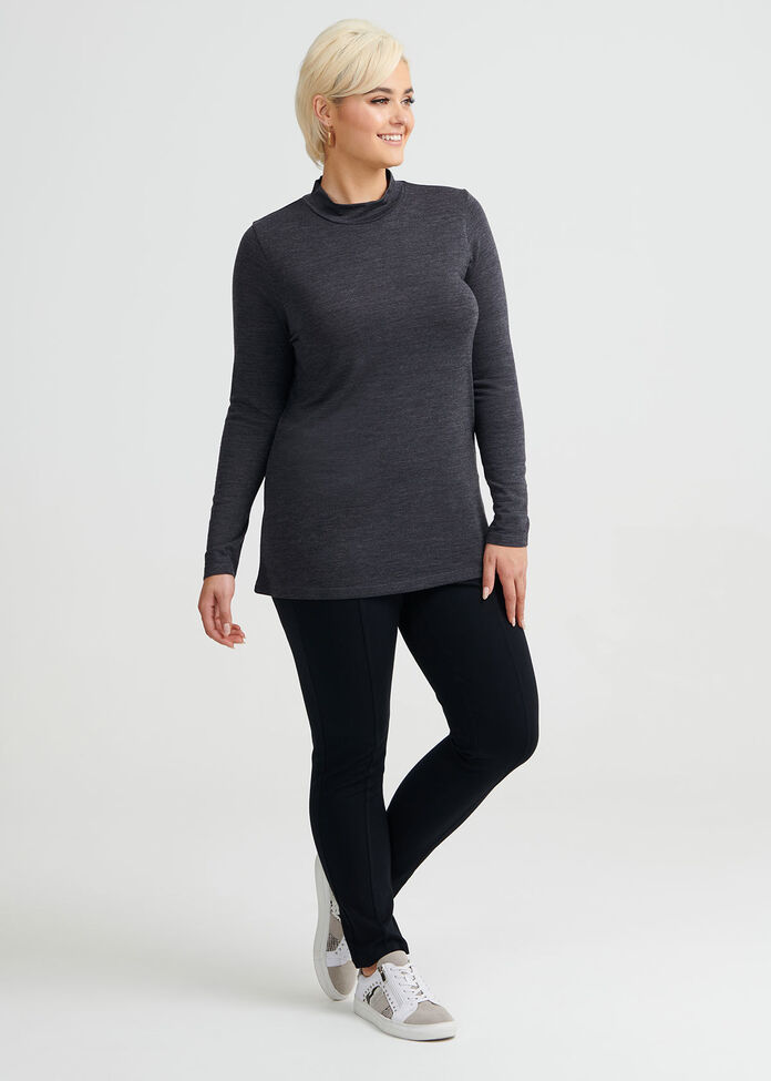 Wool Bamboo Mock Neck Top, , hi-res