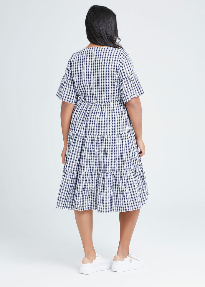 Cotton Gingham Tiered Dress, , hi-res