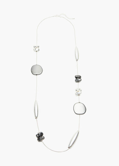 Long Line Silver Necklace