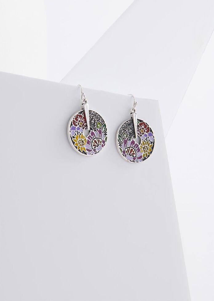 Enamel Flower Earrings, , hi-res