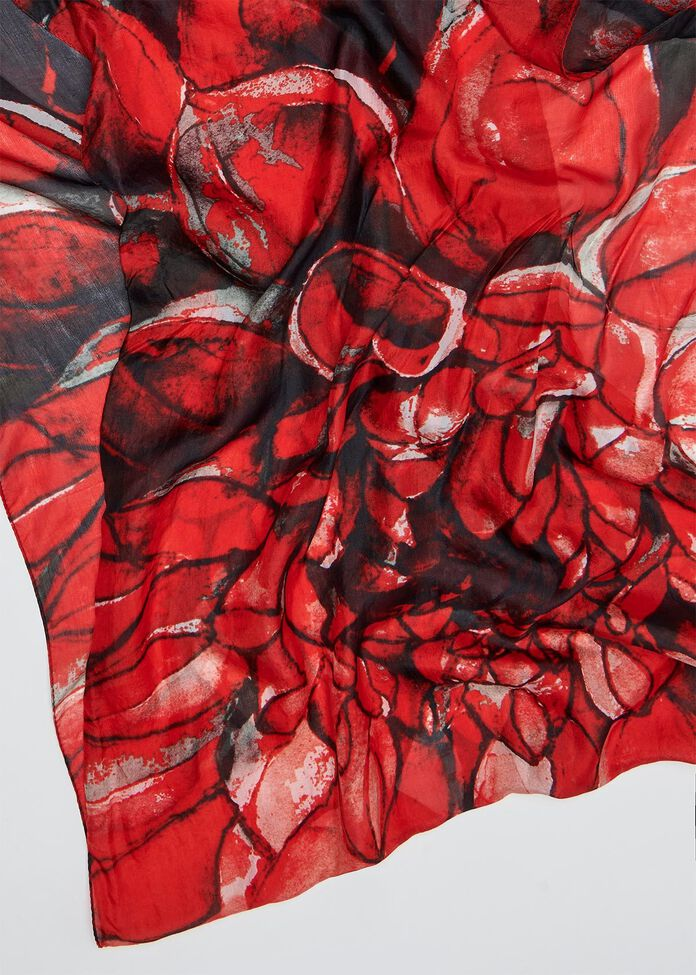 Open Bloom Silk Scarf, , hi-res