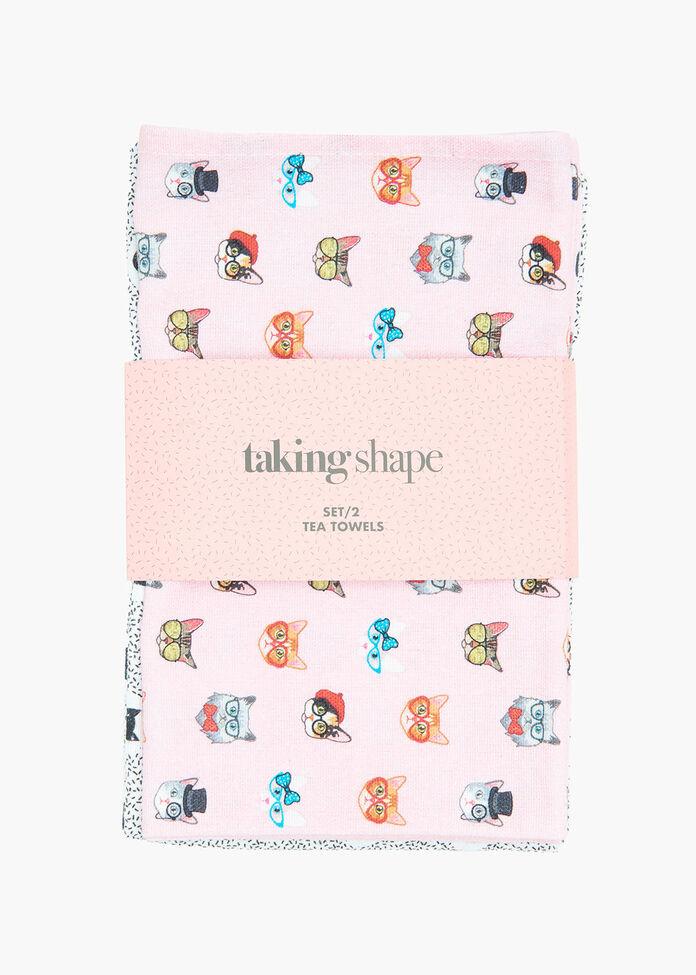 Set/2 Cat Tea Towel, , hi-res