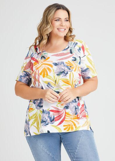 Linen Blend Tropics Print Top