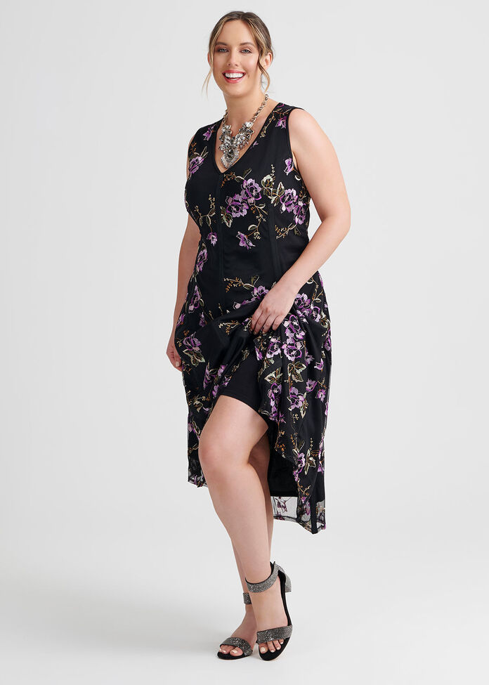 Embroidery Mesh Dress, , hi-res