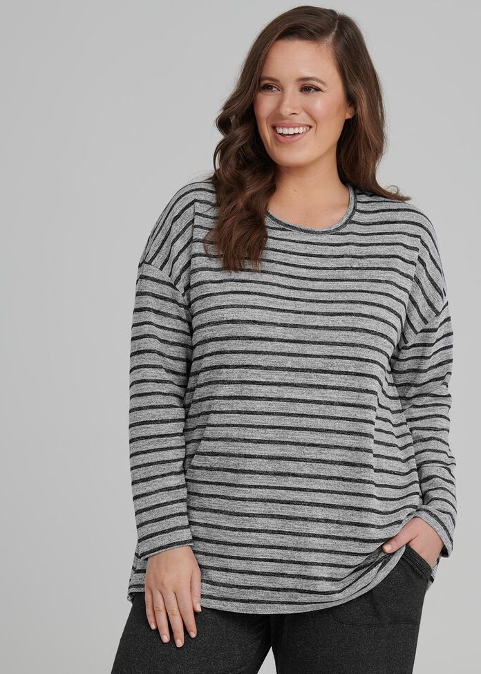 Stripe Luxe Lounge Top, , hi-res