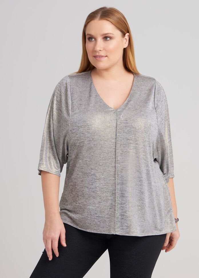 Bat Wing Foil Knit Top, , hi-res