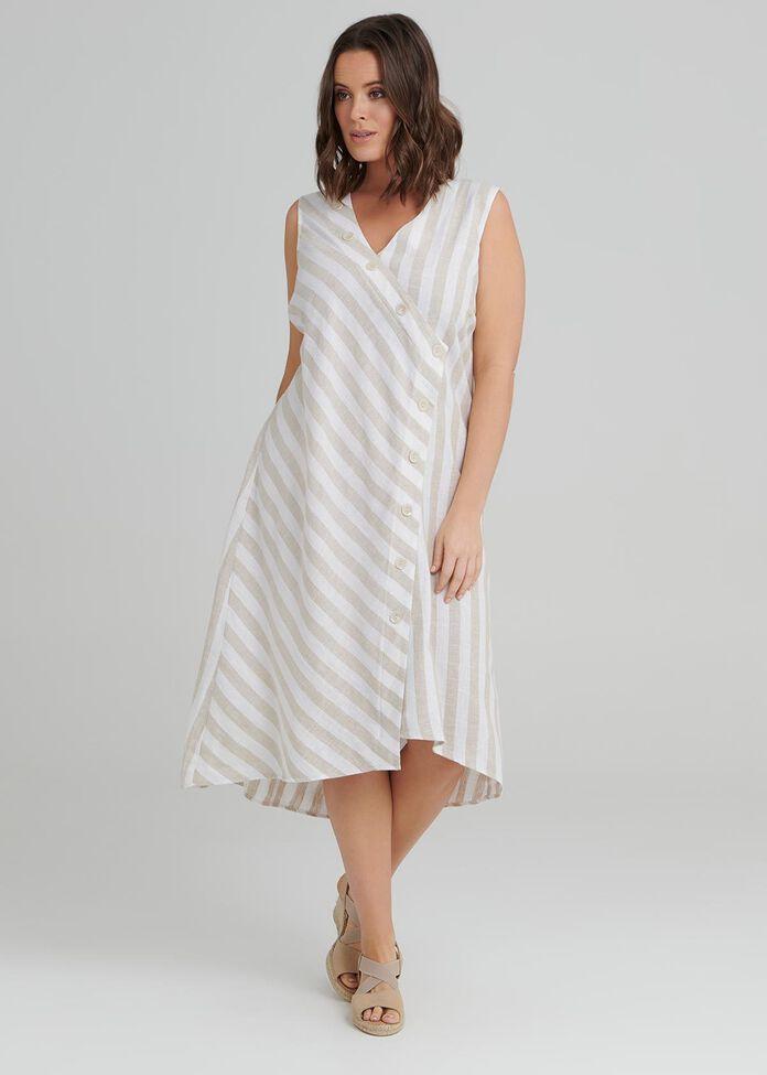 Santo Stripe Linen Dress, , hi-res