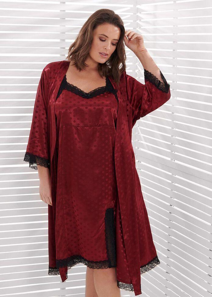 Lace Trim Robe, , hi-res