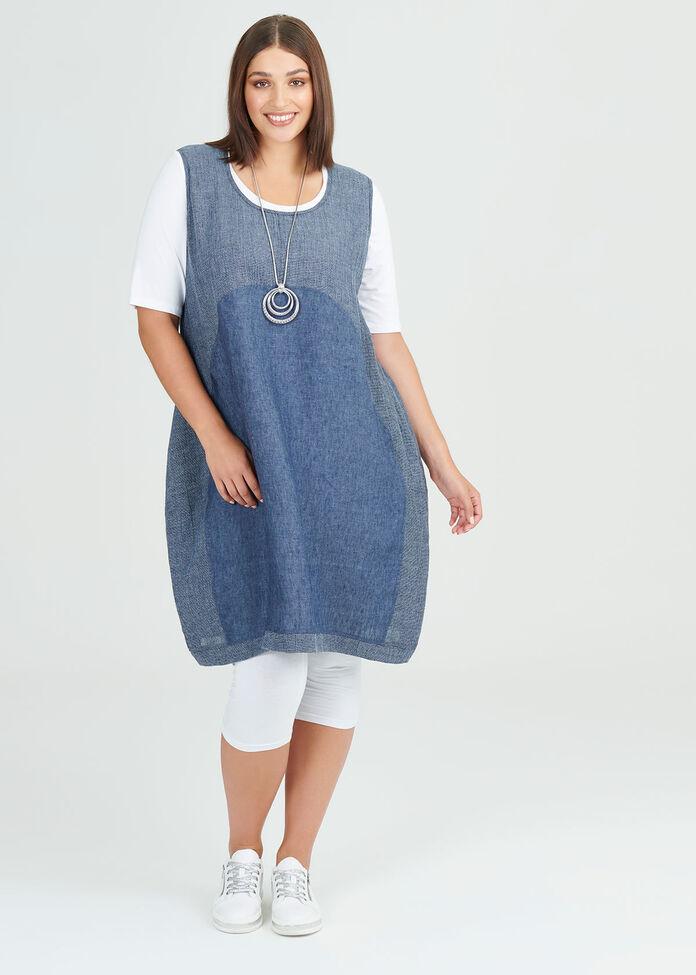 Simply Blues Linen Dress, , hi-res