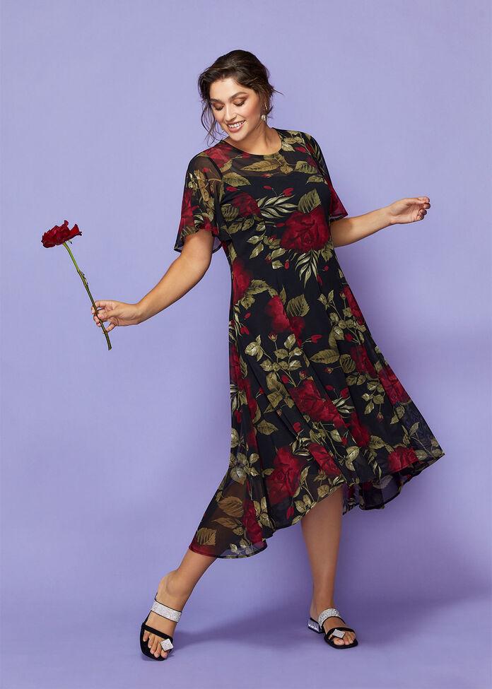 Tea Rose Mesh Maxi Dress, , hi-res