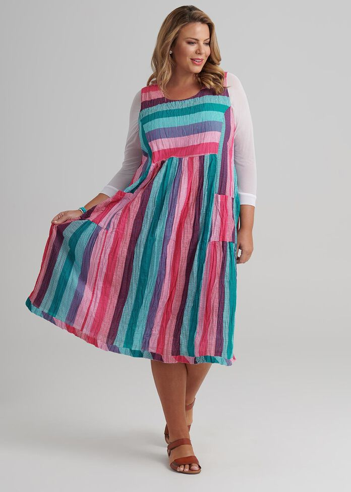 Multi Stripe Dress, , hi-res