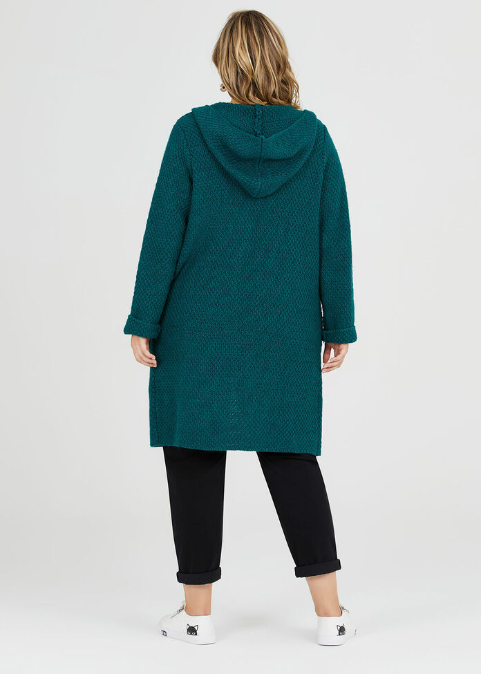 Textured Hooded Cardigan, , hi-res
