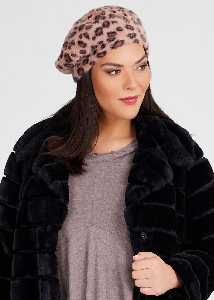 Leopard Fuzzy Beret, , hi-res