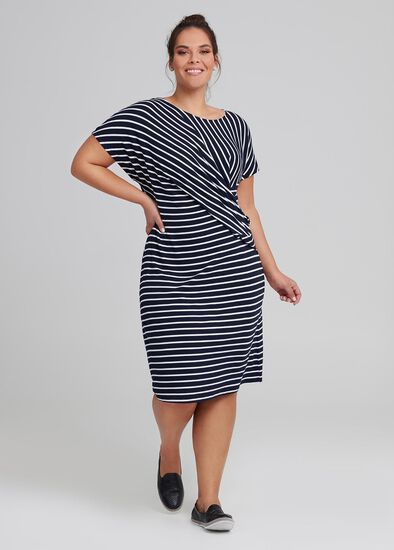 Drapy Stripe Shift Dress