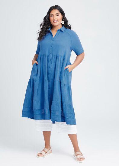 Cotton Coastal Tier Shirt Dress