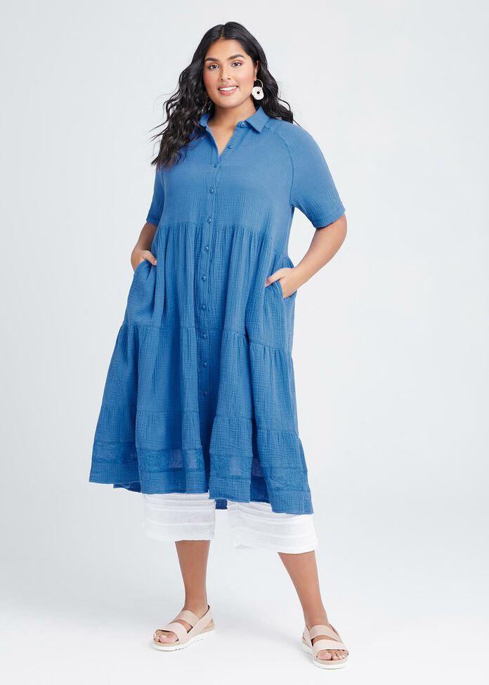 Cotton Coastal Tier Shirt Dress, , hi-res