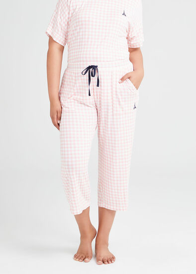 Bamboo Gingham Pyjama 3/4 Pant