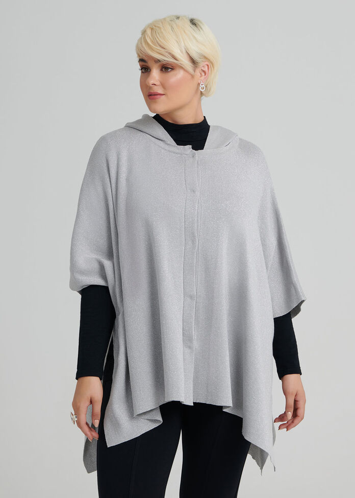 Hooded Sparkle Poncho, , hi-res