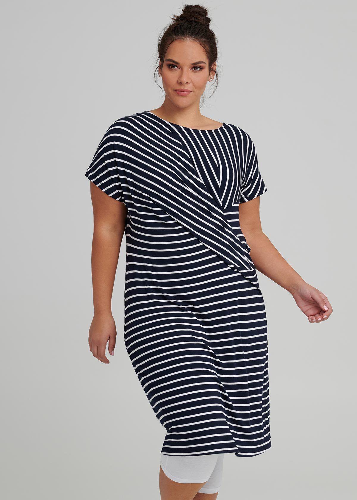 Drapy Stripe Shift Dress