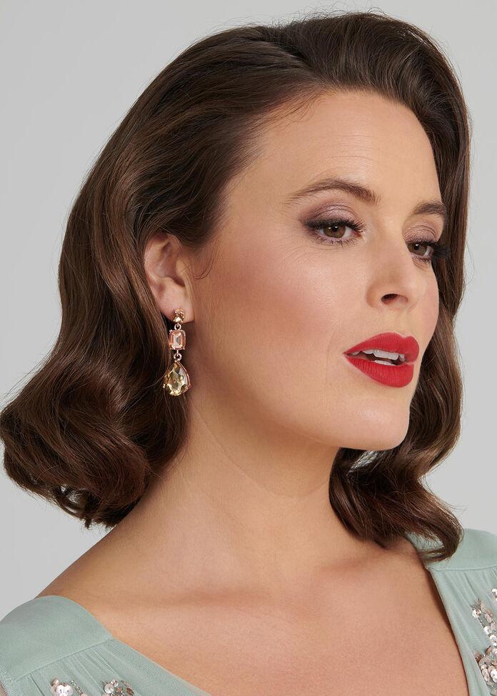 Citrine Crystal Earrings, , hi-res
