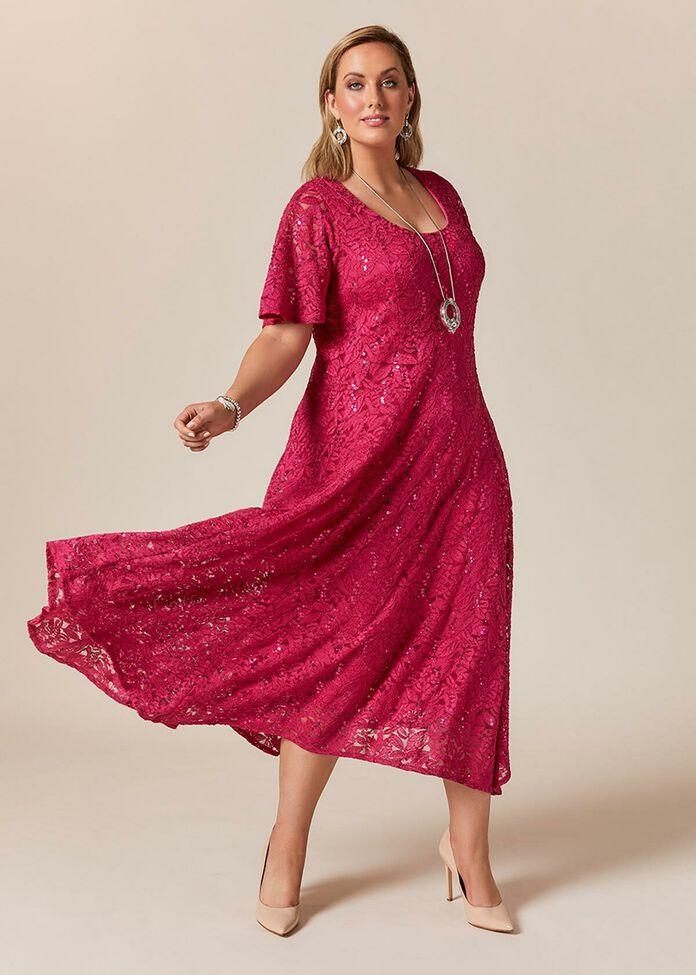 Giselle Sequin Lace Long Dress, , hi-res