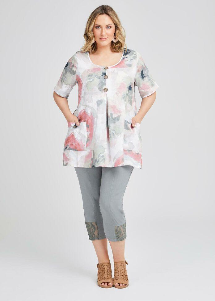 Kiki Linen & Lace Crop Pant, , hi-res
