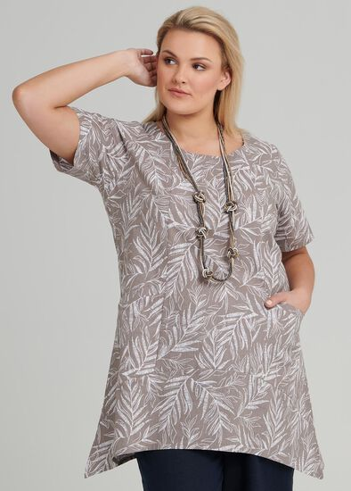 Sketchy Leaf Linen Tunic