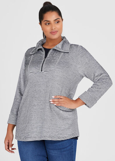Textured Wave Zip Top