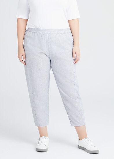 Linen Blend Pinstripe Pants