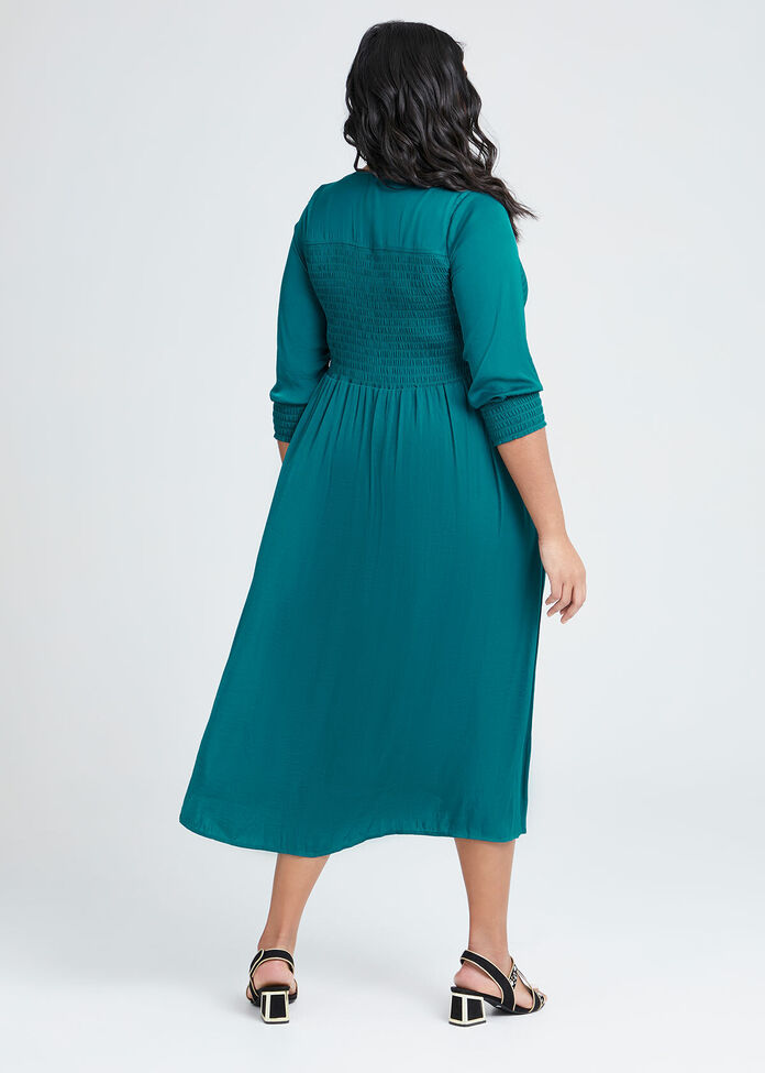 Luxe Grecian Shirring Dress, , hi-res