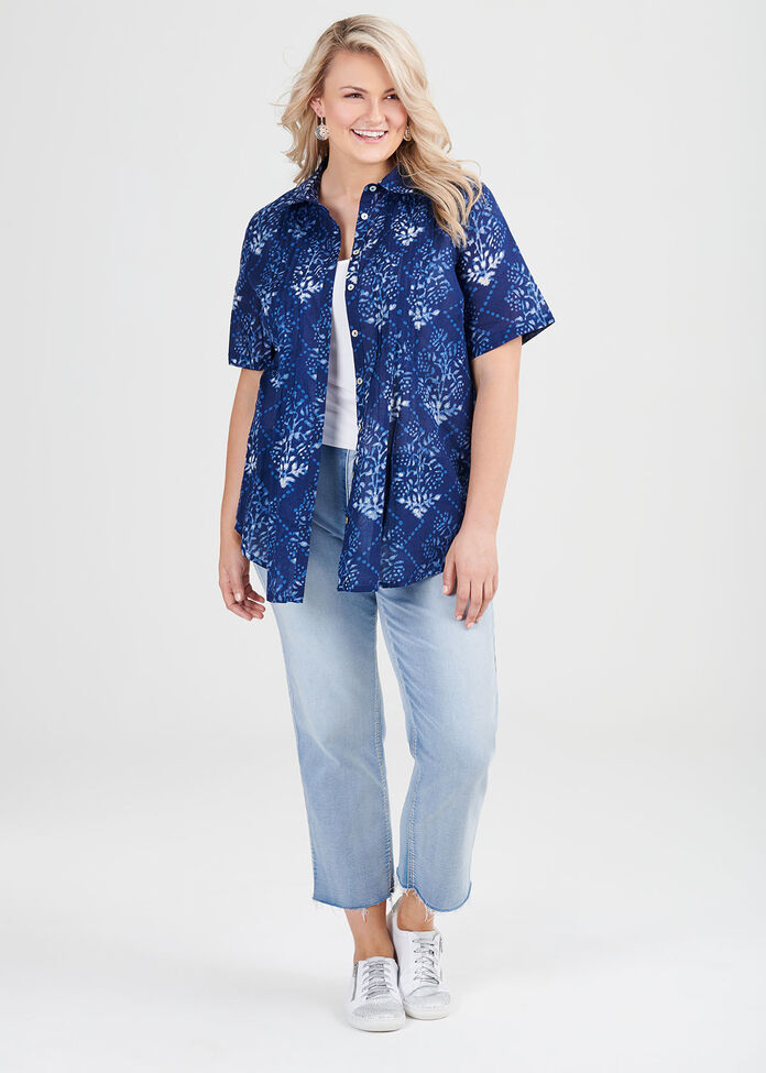 Cotton Floral Burst Shirt, , hi-res