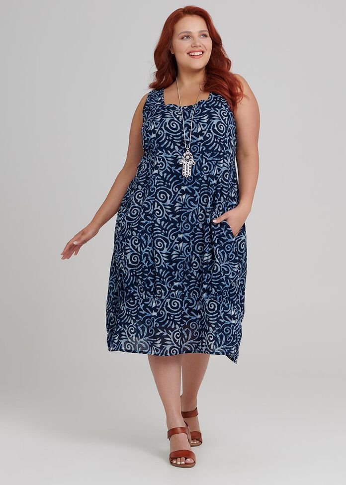 Shibori Swirls Dress, , hi-res
