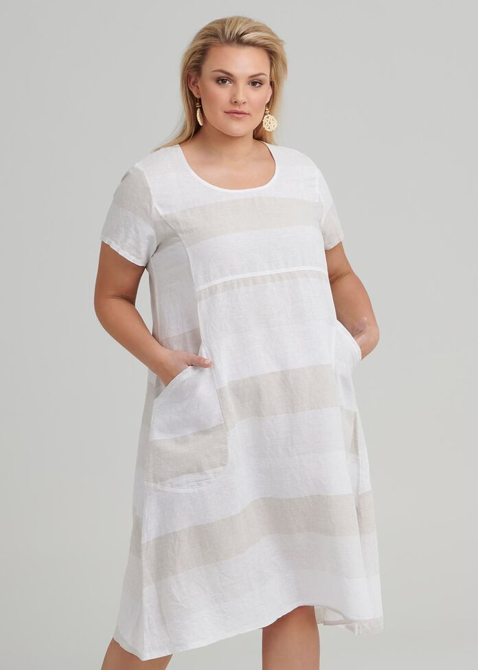 Felice Stripe Linen Dress, , hi-res