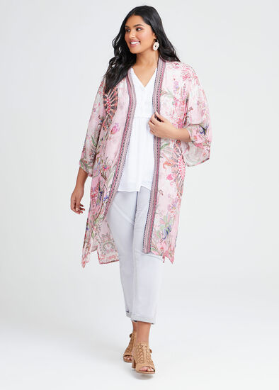 Natural Paisley Print Kimono