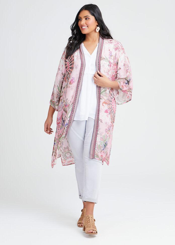 Natural Paisley Print Kimono, , hi-res