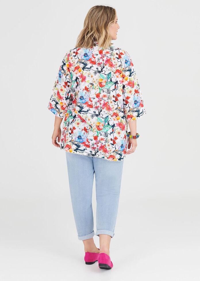 Cotton Floral Top, , hi-res