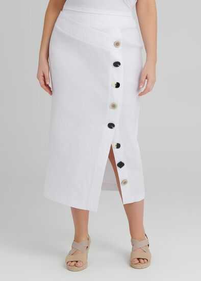 Linen Button Skirt
