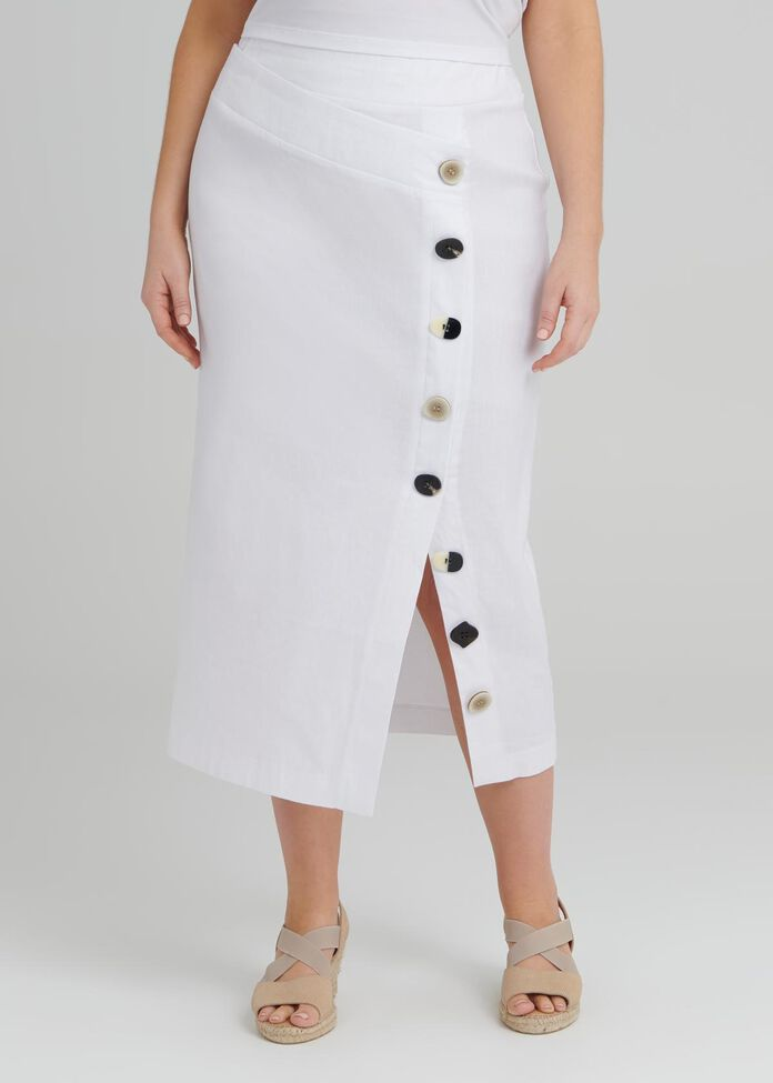 Linen Button Skirt, , hi-res